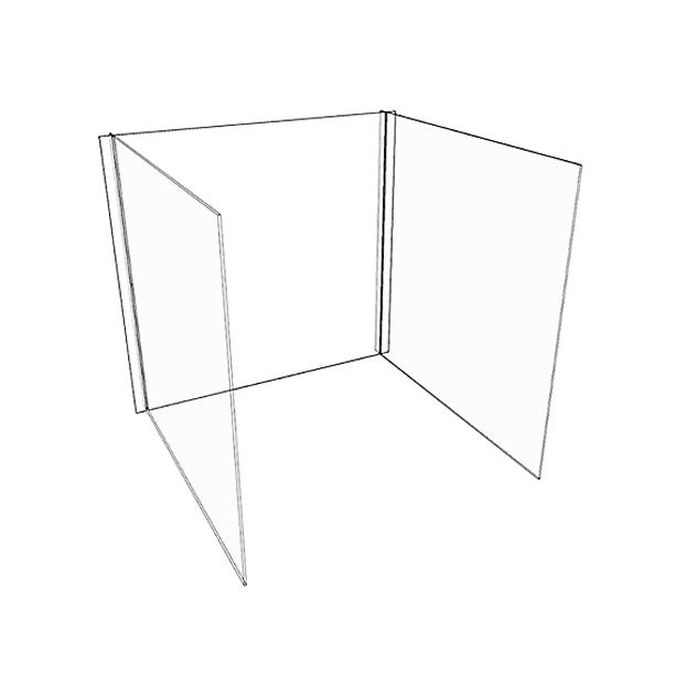 3-Sided Student Desk Dividers Desktop Sneeze Guard