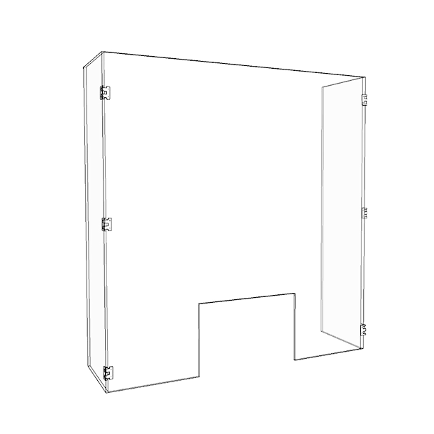 28″ x 34″ x 9″  Hinged Acrylic Sneeze Guard