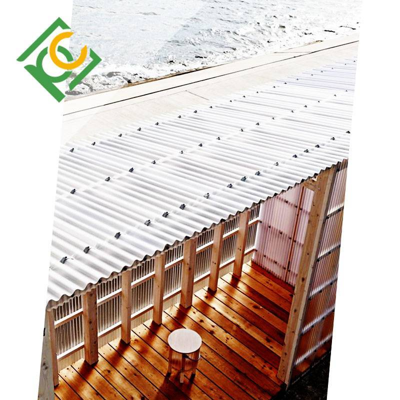 Metal roof with lighting Corrugated Polycarbonate Sheet(with color plate supporting)